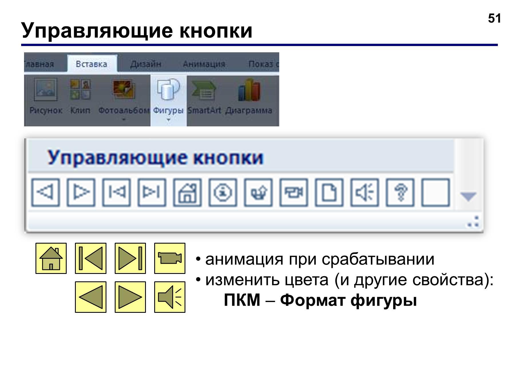 Как сделать управляющие кнопки