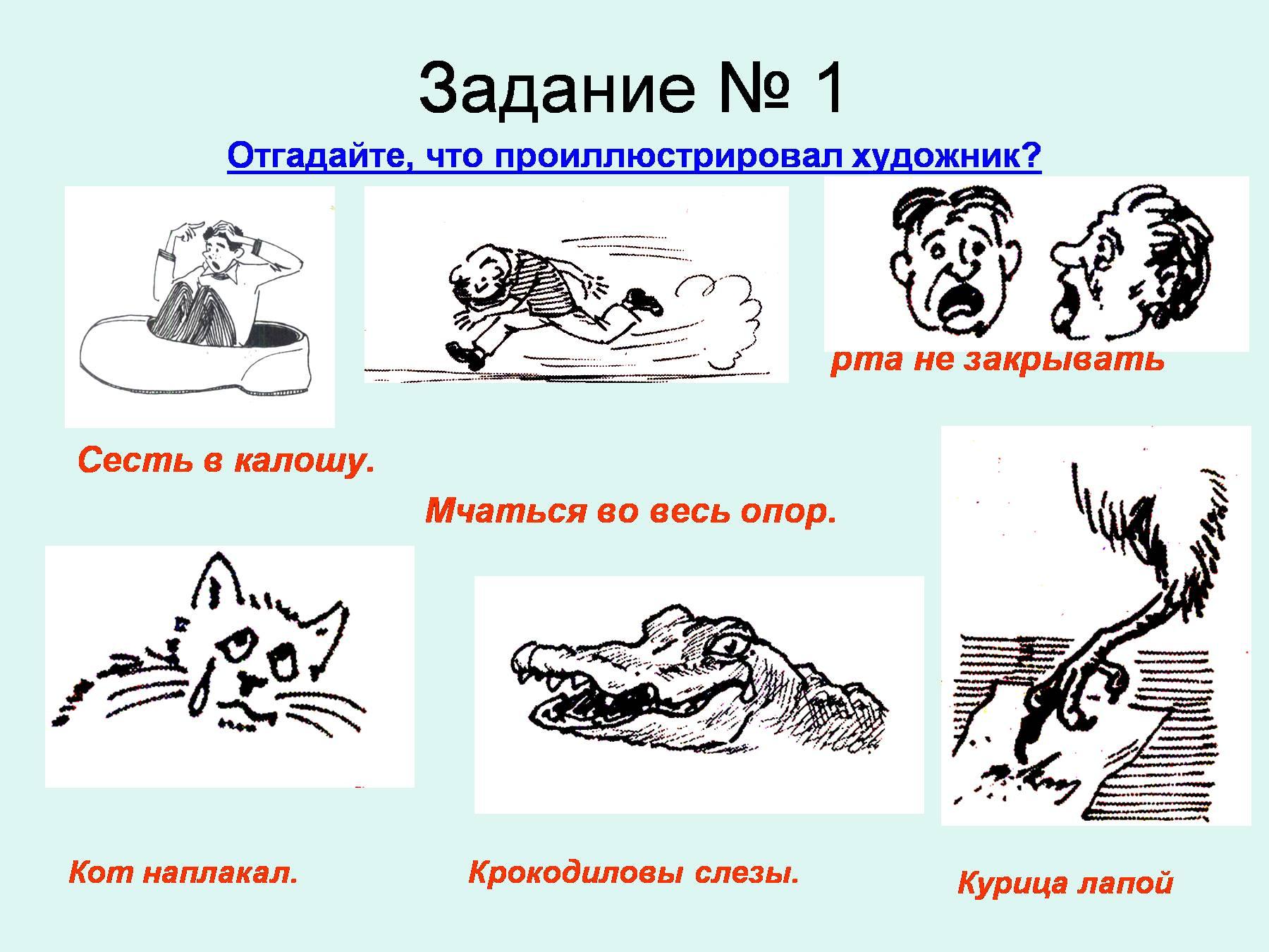 фразеологизмы примеры с картинками с объяснением понимаете